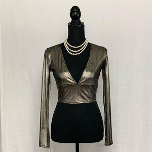 NWOT Long Sleeve Metallic Crop Top